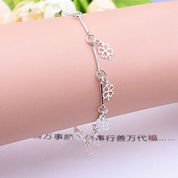 New Style 925 Stamped Silver Plated Bracelet Four Leaf Clover Charm Bracelet & Bangle for Women Wedding Party Jewelry Gifts