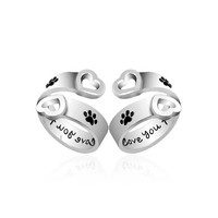 """I Will Love You Forever"" Pet Paw Print ring Memorial black Enamel Ring"