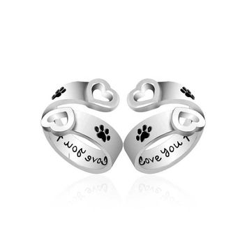 I Will LOVE You Forever Paw Print Ring