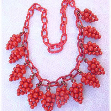 RARE - Red Grape Cluster Plastic & Celluloid Art Deco Necklace - Pennsylvania Estate Treasure