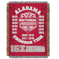 Alabama Crimson Tide NCAA National Championship Commemorative Woven Tapestry Throw (48x60)