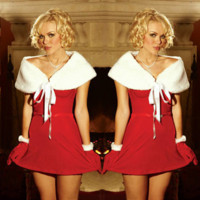 Women Fashion Solid Color Sleeveless Shawl Princess Mini Dress Christmas Clothes Set
