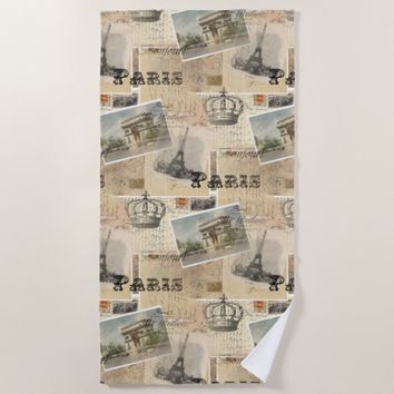 French Postcard Paris Beach Towel