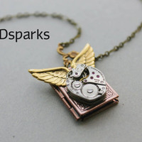 Steampunk Book Locket in Copper with wings