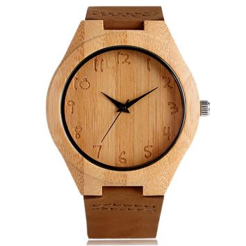 Simple Men Women Bamboo Watch Hand Carved Arabic Number Dial Genuine Leather Band Cool Male Female Nature Casual Wood Wristwatch