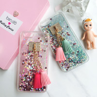 Love quicksand liquid soft TPU tassels Pendant mobile phone case for iphone 5 5s SE 6 6s 6plus 6s plus + Nice gift box!