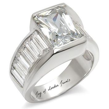 4.5CT Perfect Emerald Cut Russian Lab Diamond Engagement Wedding Anniversary Ring