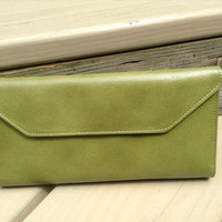 Vintage Buxton Olive Leather Wallet Checkbook Holder