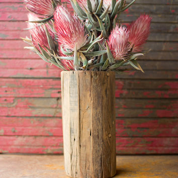 Recycled Wooden Cylinder Vase