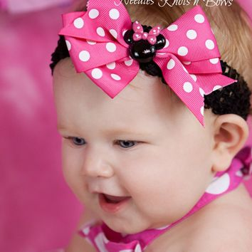 Minnie Mouse Headband, Girls Minnie Mouse Hairbow, Baby Girls Pink Polka Dot Minnie Mouse Headband