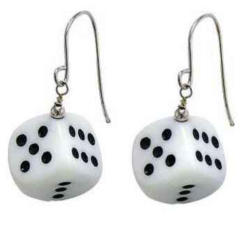 Lucky V. 2.0 Black & White Dice Earrings