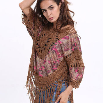 Coffee Brown Fringe Cut Out Roman Knit Cover Up