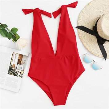 One Piece Bathing Suit Romwe Sport Deep V Plunge Red Swimwear Women Knot Shoulder  Swimsuit 2018 Summer Sexy Bathing Suit Beach Hot Swimwear KO_9_1
