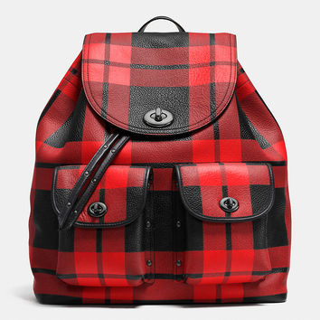 Mount Plaid Turnlock Tie Rucksack in Leather