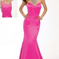 Sexy Beaded Back Jovani 20999 Hot Pink Prom Dress