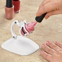 NO MORE MESSY NAIL POLISH SPILLS! WHITE GRIP & TIP HOLDER KEEPS BOTTLE STEADY!