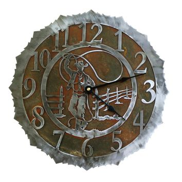Roping Cowboy Handcrafted Metal Wall Clock - 12 inch