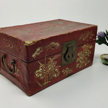 Antique Red Paperboard Japanese Jewelry Box