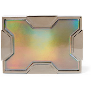 Lee Savage - Space holographic leather and gunmetal-tone clutch