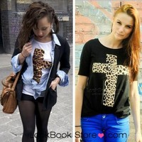 Lookbookstore Women Leopard Cross Printed Baggy Oversized Boyfriend Cotton Tee T-shirt T shirt @lookbookstore #lookbookstore
