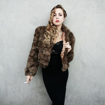 Killer 80's Rabbit Fur Crop Coat