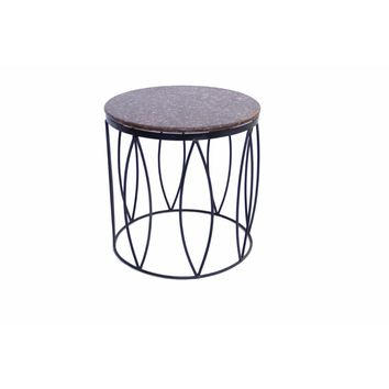 Contemporary Style Iron Base Side Table With Marble Top, Brown