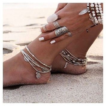 Vintage Multilayers Beaded Anklets for Women Bohemian Beach Feather Leaf Fish Beaded Foot Jewelry Gypsy Ankle Bracelet