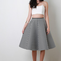 Scuba Knit Striped Circle Skirt