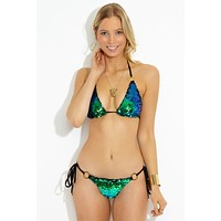 Siren Song Triangle Bikini Top - Green Ombre
