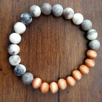 White Howlite and Natural Wooden Bead Bracelet || Minimalist, Natural Gemstones, White and Tan, Yogi