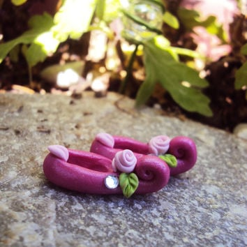 Miniature Fairy Shoes, Leprechaun Shoes, Miniature Polymer Clay Shoes, Fuchsia, Fairy Shoes, Fairy Garden Shoes, Elf Shoes, Faerie Shoes