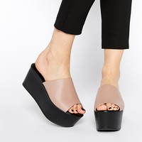 ASOS HASLEMERE Leather Muled Wedges