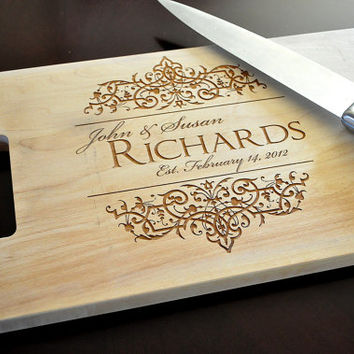 Personalized Cutting Board Laser Engraved Hard Maple 11x15 Wood Cutting Board