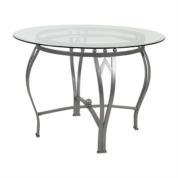 Round 42-inch Clear Tempered Glass Dining Table with Silver Frame