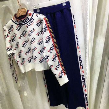 Fendi high quality new fashion more letter print string mark letter print long sleeve top sweater and pants two piece suit White