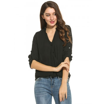 Women Casual Long Sleeve Solid Pleated Button Down Shirt