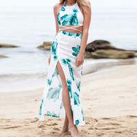 2Pcs Floral Halter Top Maxi Slit Skirt Set