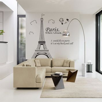 Romantic Paris Eiffel Tower Beautiful View of France DIY Wall Stickers WallpaperArt Decor Mural Room Decal