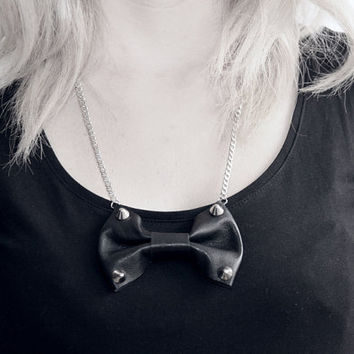 Studded Leather bow necklace