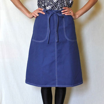 60s Vintage Wrap Skirt Large Pockets Knee Length Royal Blue