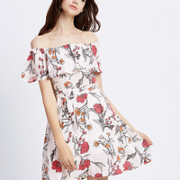 Multicolor Off Shoulder Floral Ruffle Overlay Tied Waist Dress