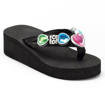 Jeweled Heart Wedge Flip-Flops - Girls