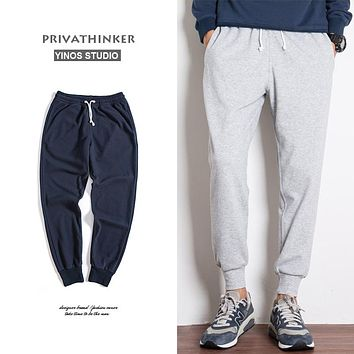 Privathinker Mens Skinny Joggers Pants Man Fleece Sweatpants Fashion Winter Thick Sweat Pants Male Aesthetic Trousers 2017