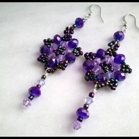 Purple Czech Crystal,Lavender Swarovski Crystal, Rainbow Bead Earrings