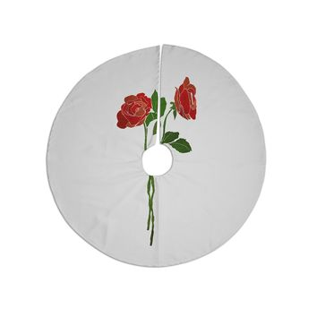 """Frederic Levy-Hadida """"2 Roses"""" Green Red Digital Christmas Tree Skirt"""