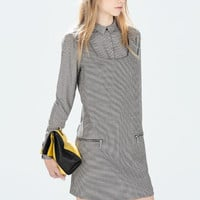 Houndstooth check pinafore dress