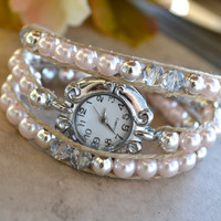 Pink Pearls and Silver Crystal Wrap Watch
