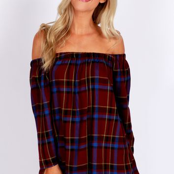 Off The Shoulder Plaid Top Burgundy