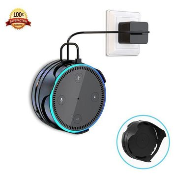 ONETOW [Upgraded] Echo Dot Wall Mount Hanger Stand IMEEK Stick-on Anywhere Dot Holder with Cord Wrap for Dot 2nd Generation Smart Home Speaker-Black