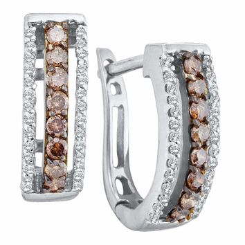 14kt White Gold Womens Round Cognac-brown Color Enhanced Diamond Triple Row Huggie Earrings 3/8 Cttw
